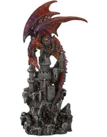Red Dragon Castle Guardian Statue