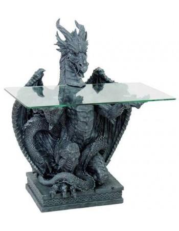 Dragon Glass Top Side Table Mythic Decor  Dragon Statues, Angels & Demons, Myths & Legends |Statues & Home Decor
