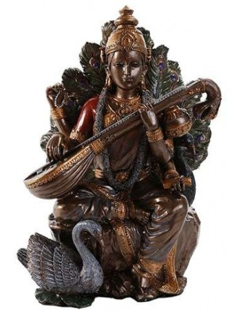 Saraswati Hindu Goddess 8 Inch Statue Mythic Decor  Dragon Statues, Angels & Demons, Myths & Legends |Statues & Home Decor