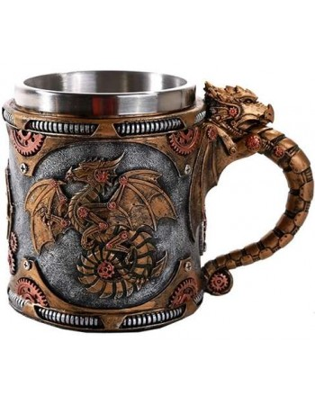 Steampunk Dragon Mug with Stainless Steel Cup Mythic Decor  Dragon Statues, Angels, Myths & Legend Statues & Home Decor