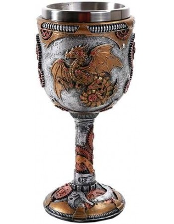 Steampunk Dragon Goblet Mythic Decor  Dragon Statues, Angels, Myths & Legend Statues & Home Decor