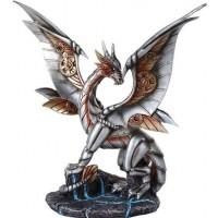 Steampunk Silver Dragon Statue