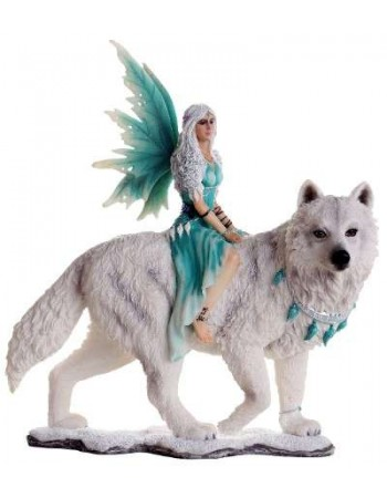 Aneira Fairy and White Wolf Companion Statue