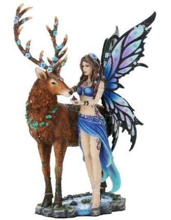 Diantha Fairy and Stag Companion Statue Mythic Decor  Dragon Statues, Angels & Demons, Myths & Legends |Statues & Home Decor