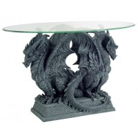 Double Dragon Glass Top Accent Table