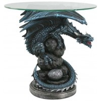 Mother Dragon Glass Top Accent Table