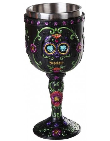 Day of the Dead Sugar Skull Goblet Mythic Decor  Dragon Statues, Angels, Myths & Legend Statues & Home Decor