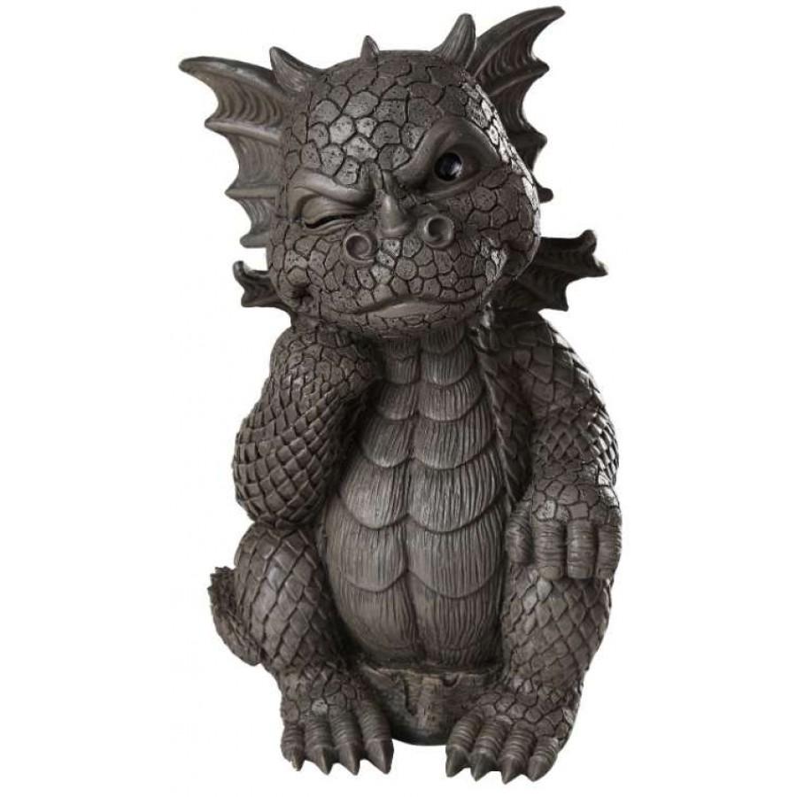 Thinker Dragon Garden Statue 10 Inch Resin Dragon Statue