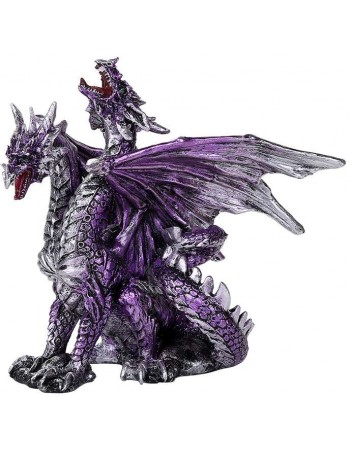 2 Headed Dragon Figurine in Purple Mythic Decor  Dragon Statues, Angels & Demons, Myths & Legends |Statues & Home Decor