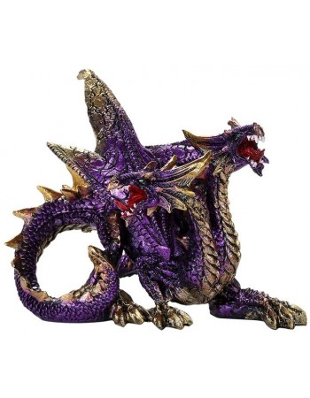 Double Headed Dragon Figurine in Purple Mythic Decor  Dragon Statues, Angels & Demons, Myths & Legends |Statues & Home Decor