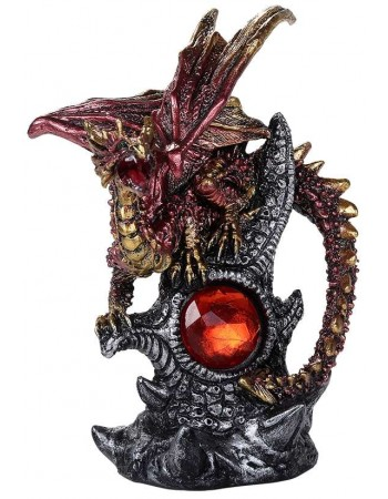 Red Dragon with Gemstone Statue