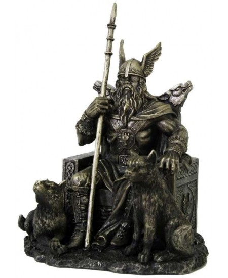 Odin the All-Father Norse God with Wolves Statue at Mythic Decor,  Dragon Statues, Angels & Demons, Myths & Legends |Statues & Home Decor