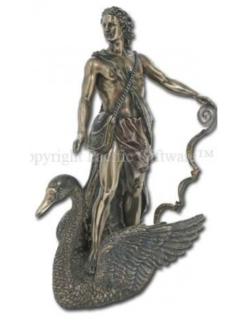 Apollo Greek God of Light on Swan Bronze Statue