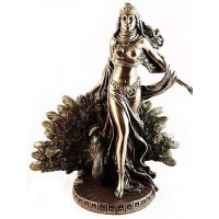 Hera Queen of the Greek Gods Statue with Peacock