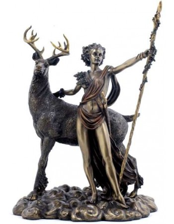 Diana Artemis Greek Goddess of the Hunt Statue with Deer