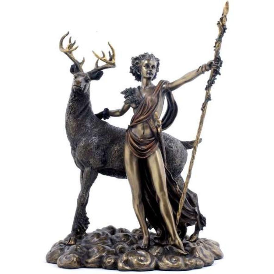 diana artemis greek goddess of the hunt statue with deer