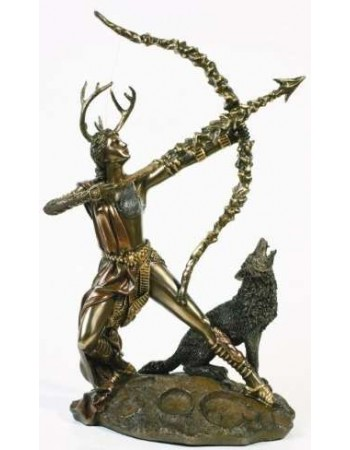 Diana Artemis Greek Goddess of the Hunt Statue with Wolf Mythic Decor  Dragon Statues, Angels, Myths & Legend Statues & Home Decor