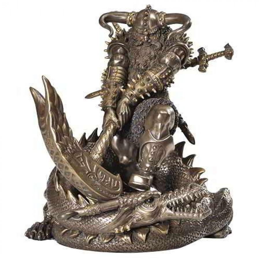 Thor Norse God Slaying Dragon Statue At Mythic Decor Dragon Statues Angels