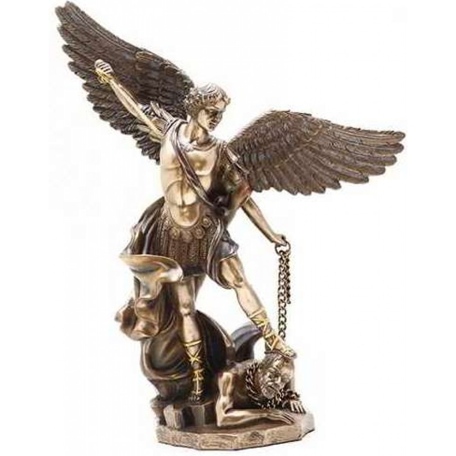 Archangel St Michael 10 Inch Bronze And Gold Statue At Mythic Decor Dragon Statues