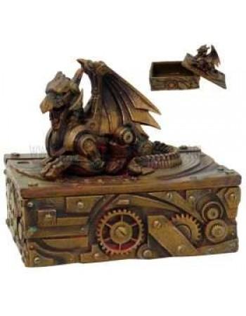 Steampunk Winged Dragon Trinket Box Mythic Decor  Dragon Statues, Angels, Myths & Legend Statues & Home Decor