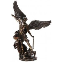 Archangel St Michael Slaying Evil 15 Inch Bronze Statue