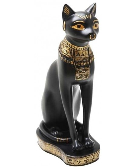 Bastet Black Cat with Gold Necklace Egyptian Statue at Mythic Decor,  Dragon Statues, Angels & Demons, Myths & Legends |Statues & Home Decor