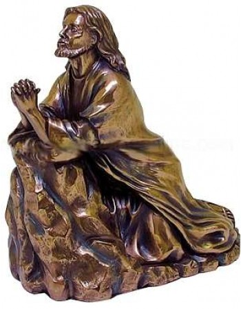 Jesus in Prayer Bronze Christian Statue
