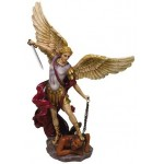 Archangel St Michael Hand Painted Color Christian Statue at Mythic Decor,  Dragon Statues, Angels, Myths & Legend Statues & Home Decor
