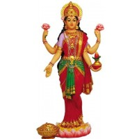 Lakshmi Hindu Goddess of Luck and Wealth Full Color Statue
