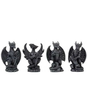 Mini Dragon Statue Set of 4 Mythic Decor  Dragon Statues, Angels & Demons, Myths & Legends |Statues & Home Decor