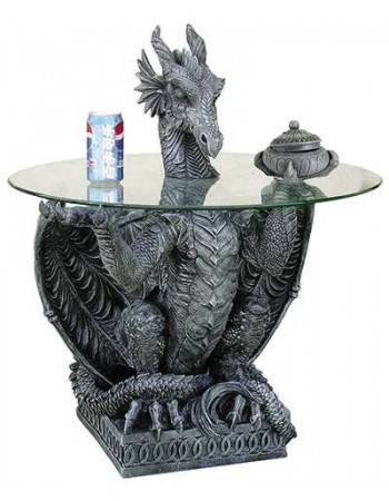 Dragon Side Table with Glass Top Mythic Decor  Dragon Statues, Angels & Demons, Myths & Legends |Statues & Home Decor