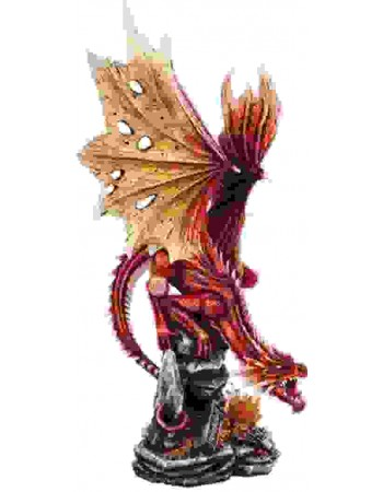 Red Dragon on Rock Statue Mythic Decor  Dragon Statues, Angels, Myths & Legend Statues & Home Decor
