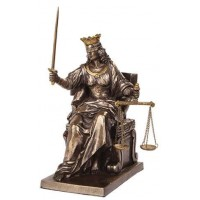 Lady Justice Seated with Scales Bronze Statue