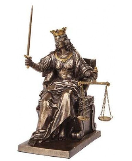 Lady Justice Seated with Scales Bronze Statue at Mythic Decor,  Dragon Statues, Angels, Myths & Legend Statues & Home Decor