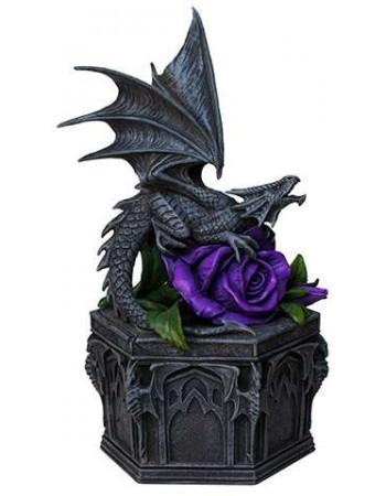 Dragon Beauty Purple Rose Trinket Box Mythic Decor  Dragon Statues, Angels & Demons, Myths & Legends |Statues & Home Decor