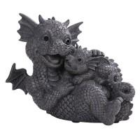 Dragon Family Cuddles Garden Statue