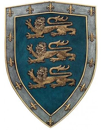 3 Lions Medievel Knights Shield Plaque Mythic Decor  Dragon Statues, Angels, Myths & Legend Statues & Home Decor