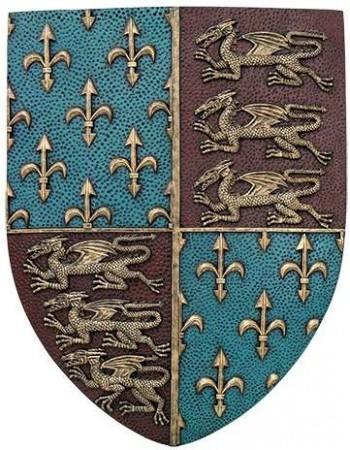 Fleur de Lis and Lions Medievel Knights Shield Plaque Mythic Decor  Dragon Statues, Angels, Myths & Legend Statues & Home Decor