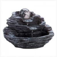Rock Design Tabletop Fountain with Orb
