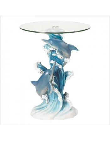 Playful Dolphins Glass Top Accent Table Mythic Decor  Dragon Statues, Angels, Myths & Legend Statues & Home Decor