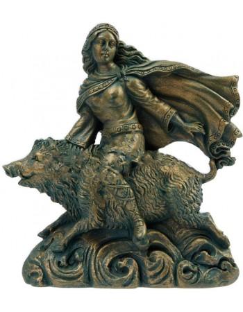 Freya Norse Goddess on Boar Statue