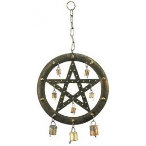 Pentacle Wind Chime with Bells Mythic Decor  Dragon Statues, Angels & Demons, Myths & Legends |Statues & Home Decor
