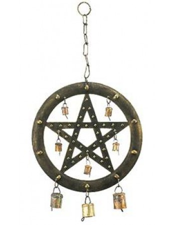 Pentacle Wind Chime with Bells Mythic Decor  Dragon Statues, Angels, Myths & Legend Statues & Home Decor