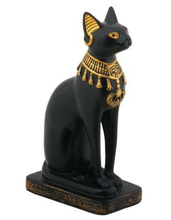 Bastet Black Cat with Lotus Collar Statue Mythic Decor  Dragon Statues, Angels, Myths & Legend Statues & Home Decor