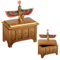 Winged Isis Golden Trinket Box
