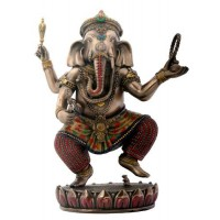 Dancing Ganesha on Lotus Bronze Resin Statue