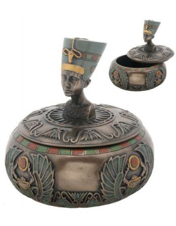 Nefertiti Egyptian Round Trinket Box Mythic Decor  Dragon Statues, Angels & Demons, Myths & Legends |Statues & Home Decor
