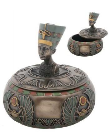 Nefertiti Egyptian Round Trinket Box Mythic Decor  Dragon Statues, Angels, Myths & Legend Statues & Home Decor