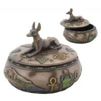 Anubis Egyptian Jackal Round Trinket Box