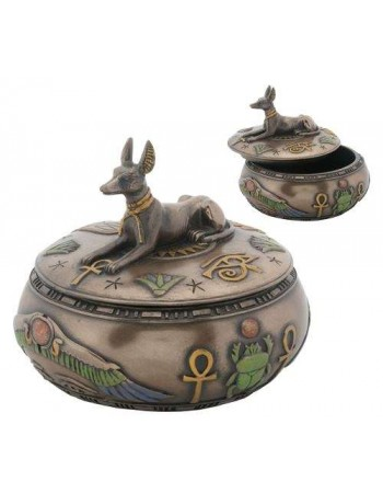 Anubis Egyptian Jackal Round Trinket Box Mythic Decor  Dragon Statues, Angels, Myths & Legend Statues & Home Decor